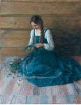 Девушка в голубом сарафане.  1980 г. 60 х 50 см, х/м. (Собственность автора)