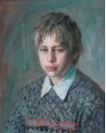 Грустный мальчик.  1995 г. 50 х 40 см, х/м  (Дар «Музею спасенных художественных ценностей» г.Брест)