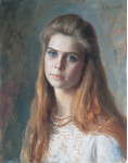 Девушка с голубыми глазами.  1993 г. 50 х 40 см, х/м.  (собственность автора