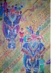 Прогулка на слонах.гор.батик.120х90 х.б. 2005Г