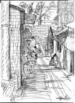 Из Китайских альбомов. Улочка в Пекине. Бумага, карандаш. 2007г. 22х15см