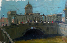 Вид на Невский проспект.  25х40см. х.м. 2013