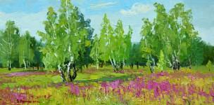 Е.Вилкова. Среди деревьев и цветов.  30х60 см. х.м. 2013г.