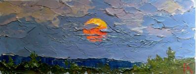 Восход светила.  18х32см. х.м. 2013