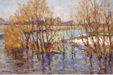 Большая вода на Певке.  40х60 см. х.м. 2013г. Вилков Андрей.