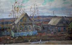 Осень в деревне х.м. 1983г. 46х70см.