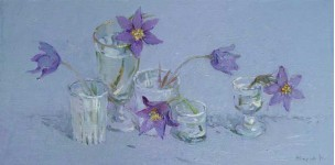 Весенние цветы. 2007 холст.масло 25х50 см.