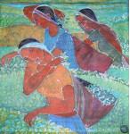 Сборщицы чая. гор. батик х.б. 90х90. 2005г.