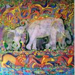Белый Слон 80х120 шелк, гор.батик