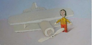 Деревянные игрушки. Самолёт.холст.масло 2008  30х60 см