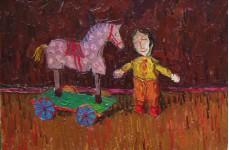 Деревянные игрушки. Серая лошадка. 2008 холст.масло 30х45 см