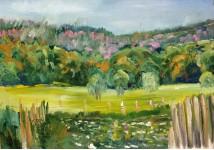 Розовый лес.  орг/м 50х70см. 2008 год