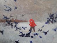 Кормление птиц.  х.м. 70х90см. 2013г