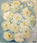 Белые цветы на белом фоне.    орг/м 60х70см. 2012 год