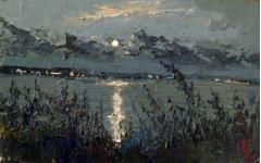 Лунный вечер над Сурой.  18х27см. к.м. 2013