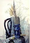 из серии - Цветы-91, Натюрморт с бабочкой, 55x79cm бумага, темпера.-1991г.