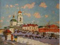 Старая Пенза. Церковь Николая Чудотворца х.м. 47х62см.