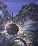 Хозяйка Похъёлы прячет Луну и Солнце.  50х40см, б. темпера, 2001г.
