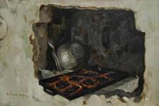 Натюрморт с шаньками  х.м.61х92см.