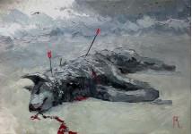 Сраженный зверь.  35х50 см. х.м. 2012