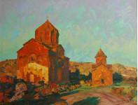 Первые христианские храмы в Армении  х,м 100х130см. 2010г.