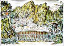 Из серии цв.автолитографий - Провинциальный парк. Карусель. 1993г. 46х64см.