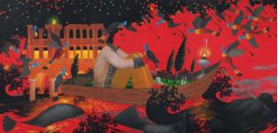 «Причудливым движениям поверьте» - портрет Александра Лакмана     – х.м.   2010г.   360х176 (три стычных холста)