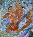 Музыка любви.гор.батик. шелк. 86х94.2005г.