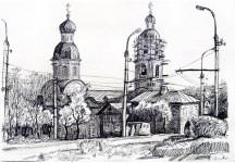 Из серии рисунков - Храмы Пензы в конце 90-х. 1998г. бумага, карандаш. Покровский храм. Реставрация. 32Х48см