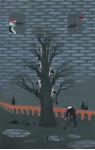 «Дятлы долбят дерево, они безжалостные птицы» - х.м.   2010г.   140х90     (один холст) Серия работ «Прохудилось небо»: ( 9, 10 )