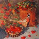 Калина и фазан.  х.м. 90х90 см.