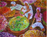 Непальский базар. гор. батик. х.б. 80х100. 2005г.