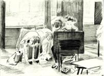 Из серии рисунков « ДХШ». 1985г. бумага. карандаш. (избранное). 19,5х27см