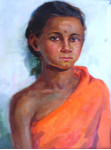Девочка  индианка.  45х34см. к.м. 1963г.