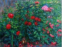Розы в саду. Х.м. 100х75см.