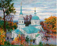 Церковь в с.Задубенье. Х.м. 100х60см.