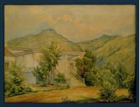 Лермонтов М.Ю. (1814-1841)  Пятигорск. Дом Реброва. бум.акв.