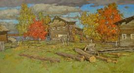 Осень в деревне.  50х90 см. х.м. 2007г.