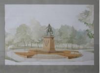 Проект памятника М.Д.Скобелеву.  в Ильинском сквере г. Москвы.   перспектива.
