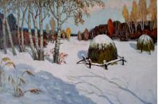 Ранний снег. 50х99см. х.м. 1990г.