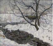 Замерший пруд. Холст,Масло.34х38 см. 2003 г.