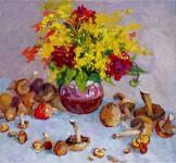 Цветы и грибы. 57х62см. х. м. 2009г