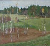Осень. Стожок. Картон,Масло. 44.7х49.7 см. 1986 г.