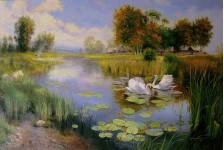 Никитский К. Пейзаж с лебедями.
