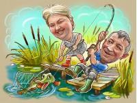 Рыболовы шарж