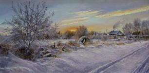 Попов А.Н.  Морозное утро.  х.м. 35х70см.