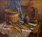 Натюрморт с рыбой. х.м. Карасев .Ю.В.
